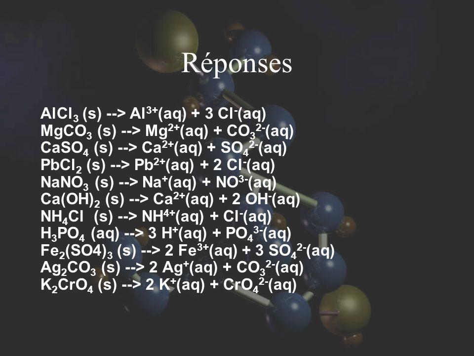 Réponses AlCl3 (s) --> Al3+(aq) + 3 Cl-(aq)