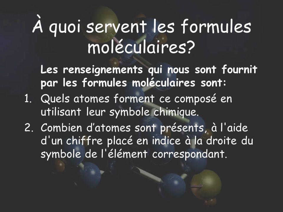À quoi servent les formules moléculaires