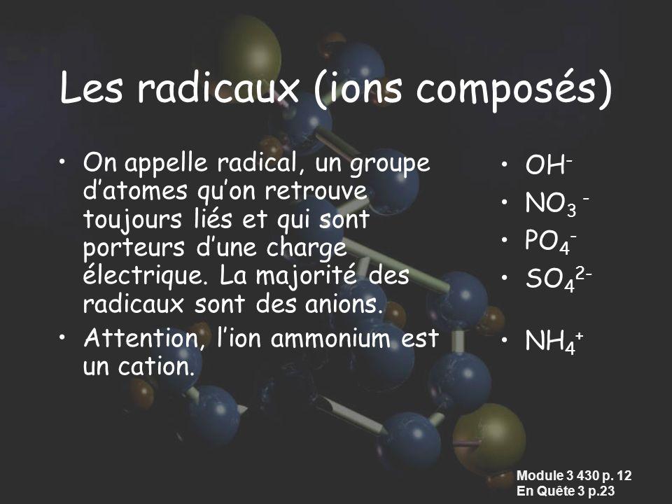 Les radicaux (ions composés)