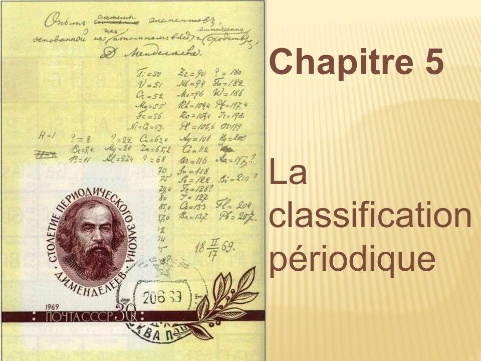 Chapitre 5 La classification périodique