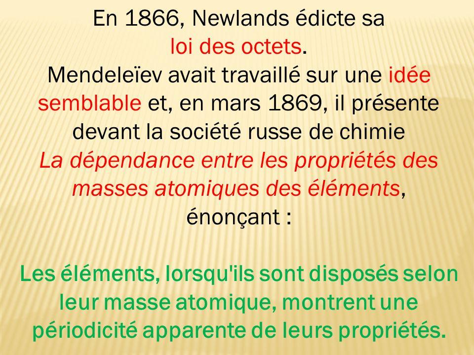 En 1866, Newlands édicte sa loi des octets.
