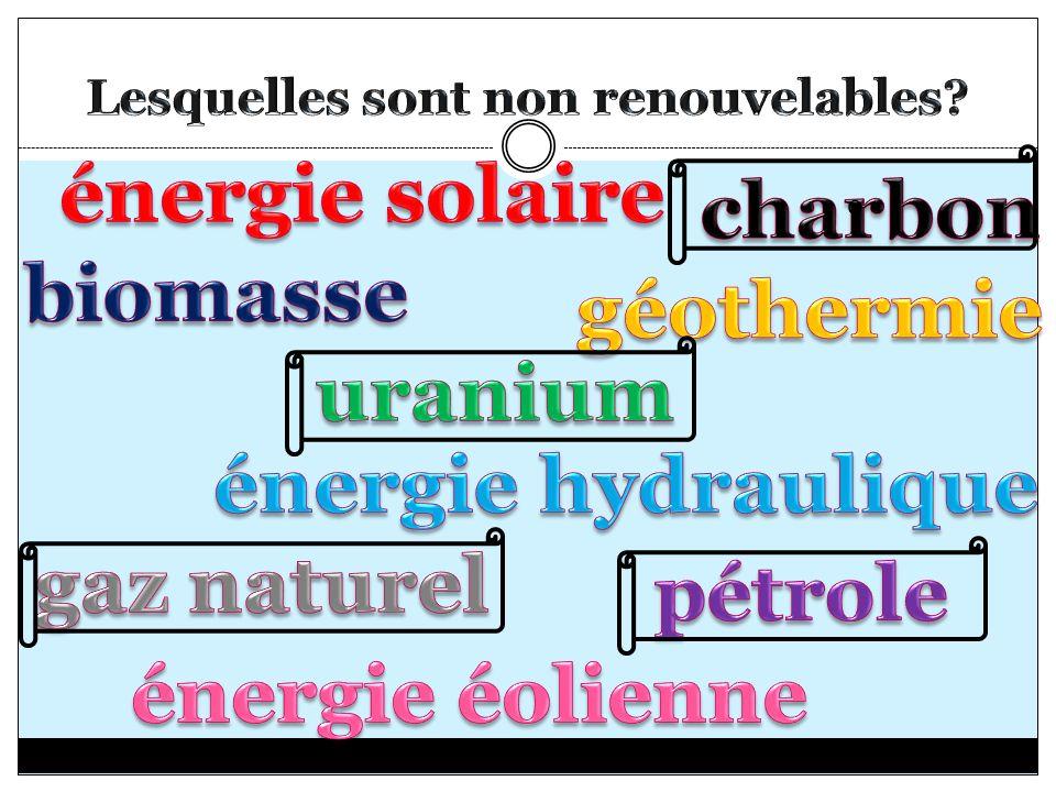 Lesquelles sont non renouvelables