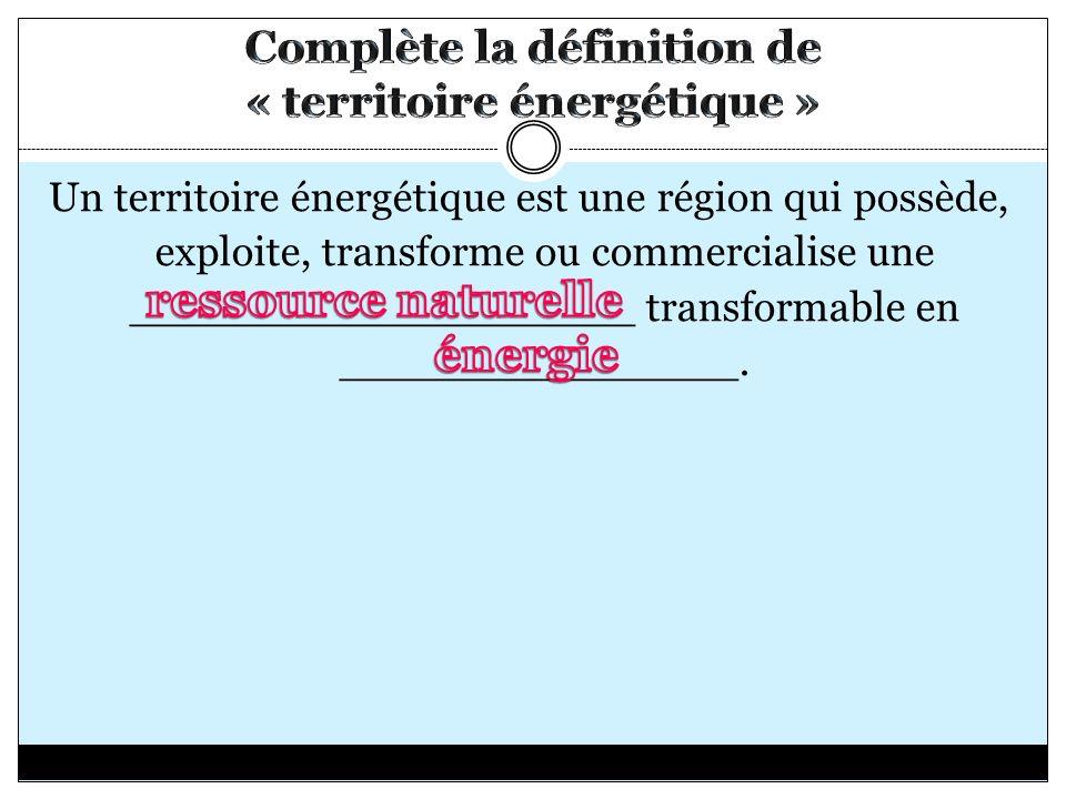 Complète la définition de « territoire énergétique »