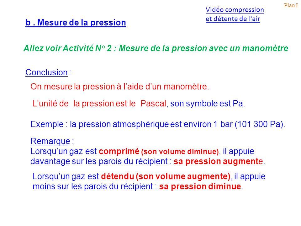 Allez voir Activité N° 2 : Mesure de la pression avec un manomètre