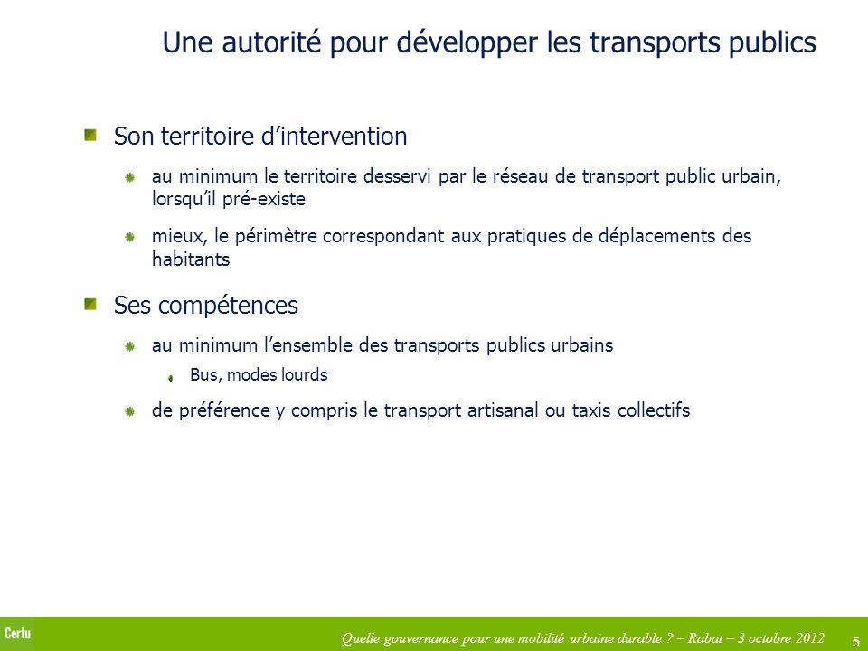 Une autorité pour développer les transports publics