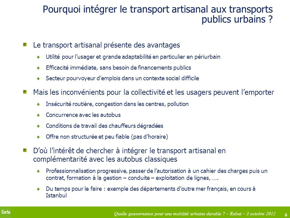 Pourquoi intégrer le transport artisanal aux transports publics urbains
