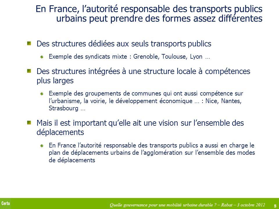 En France, l'autorité responsable des transports publics urbains peut prendre des formes assez différentes