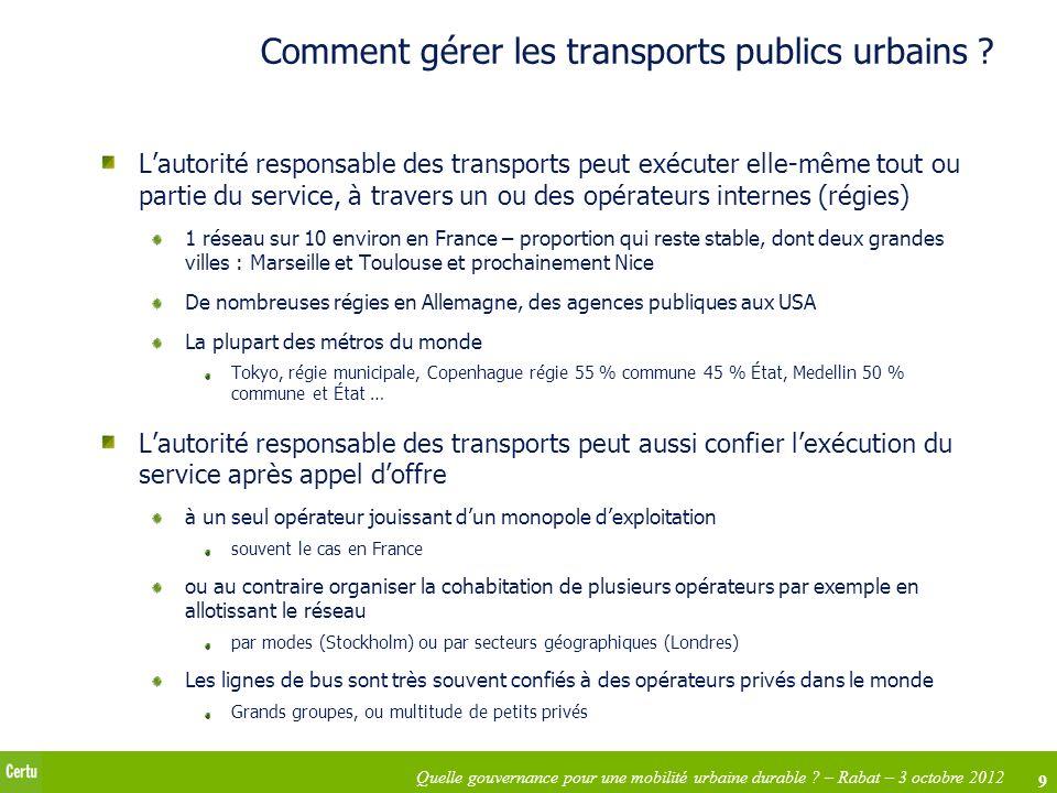 Comment gérer les transports publics urbains