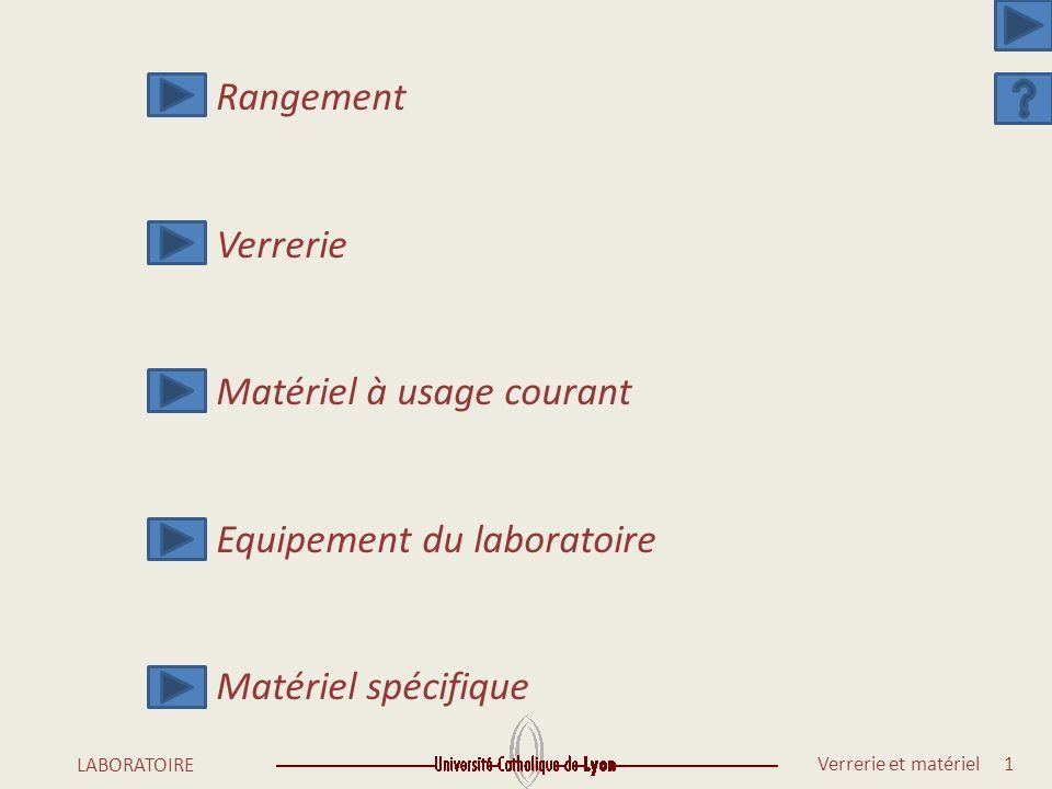 Rangement Verrerie Matériel à usage courant Equipement du laboratoire Matériel spécifique