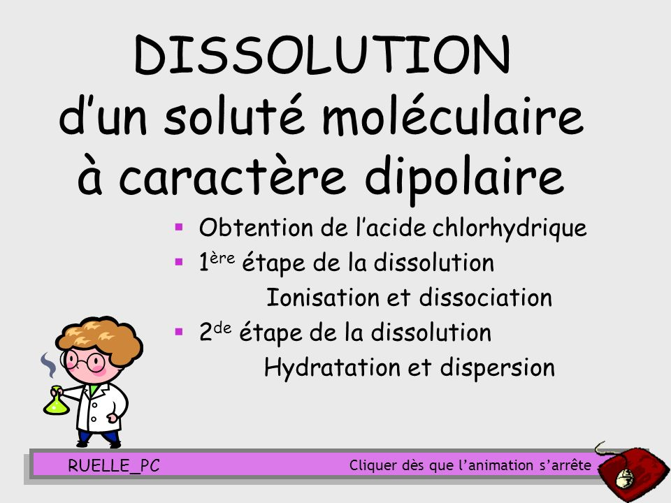 DISSOLUTION d'un soluté moléculaire à caractère dipolaire