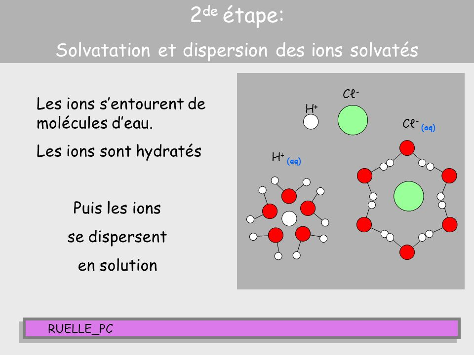 Solvatation et dispersion des ions solvatés