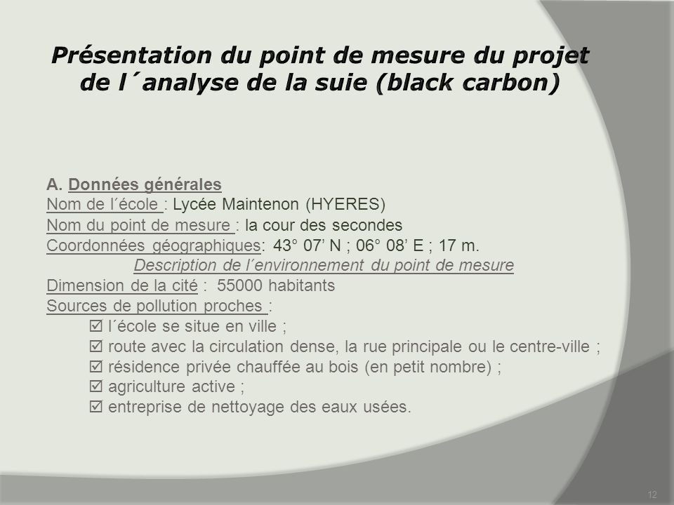 Description de l´environnement du point de mesure