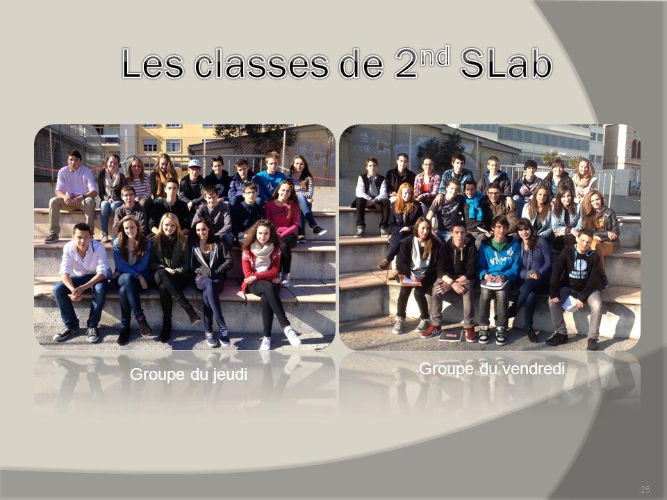 Les classes de 2nd SLab Groupe du vendredi Groupe du jeudi