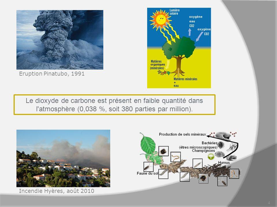 Eruption Pinatubo, 1991 Le dioxyde de carbone est présent en faible quantité dans l atmosphère (0,038 %, soit 380 parties par million).