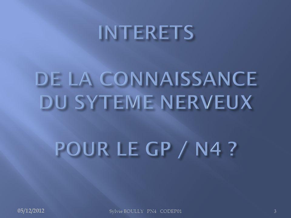 INTERETS DE LA CONNAISSANCE DU SYTEME NERVEUX POUR LE GP / N4