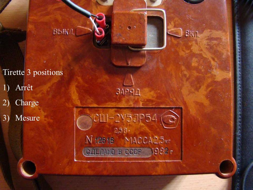 Tirette 3 positions Arrêt Charge Mesure
