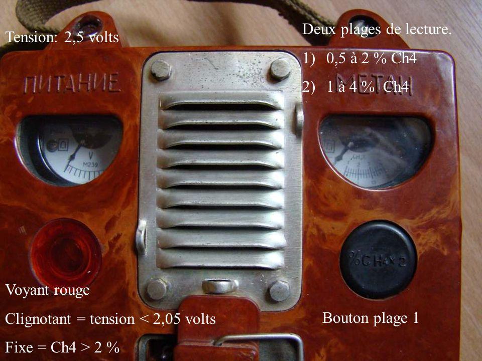 Deux plages de lecture. 0,5 à 2 % Ch4. 1 à 4 % Ch4. Tension: 2,5 volts. Voyant rouge. Clignotant = tension < 2,05 volts.