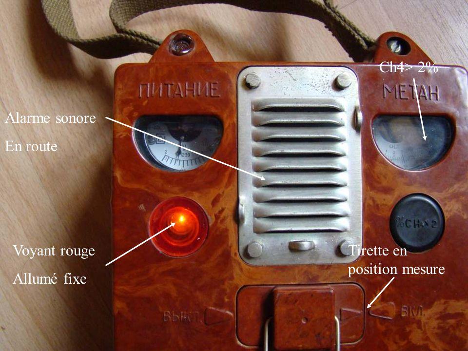 Ch4> 2% Alarme sonore En route Voyant rouge Allumé fixe Tirette en position mesure