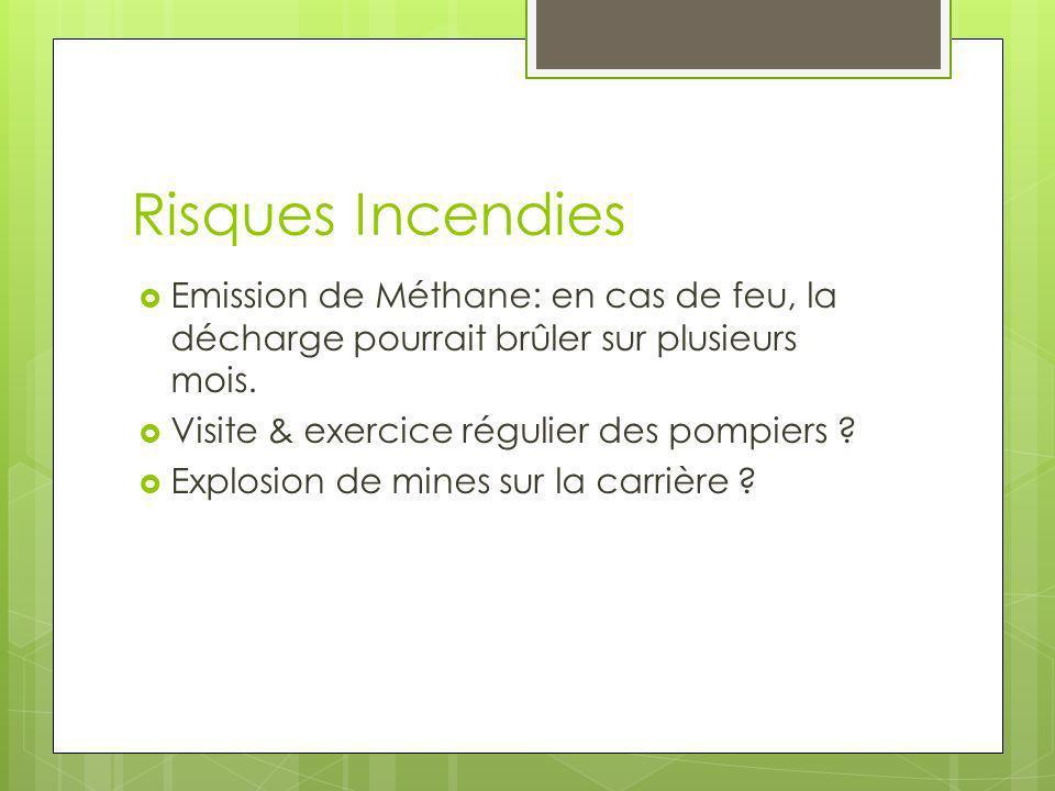 Risques Incendies Emission de Méthane: en cas de feu, la décharge pourrait brûler sur plusieurs mois.