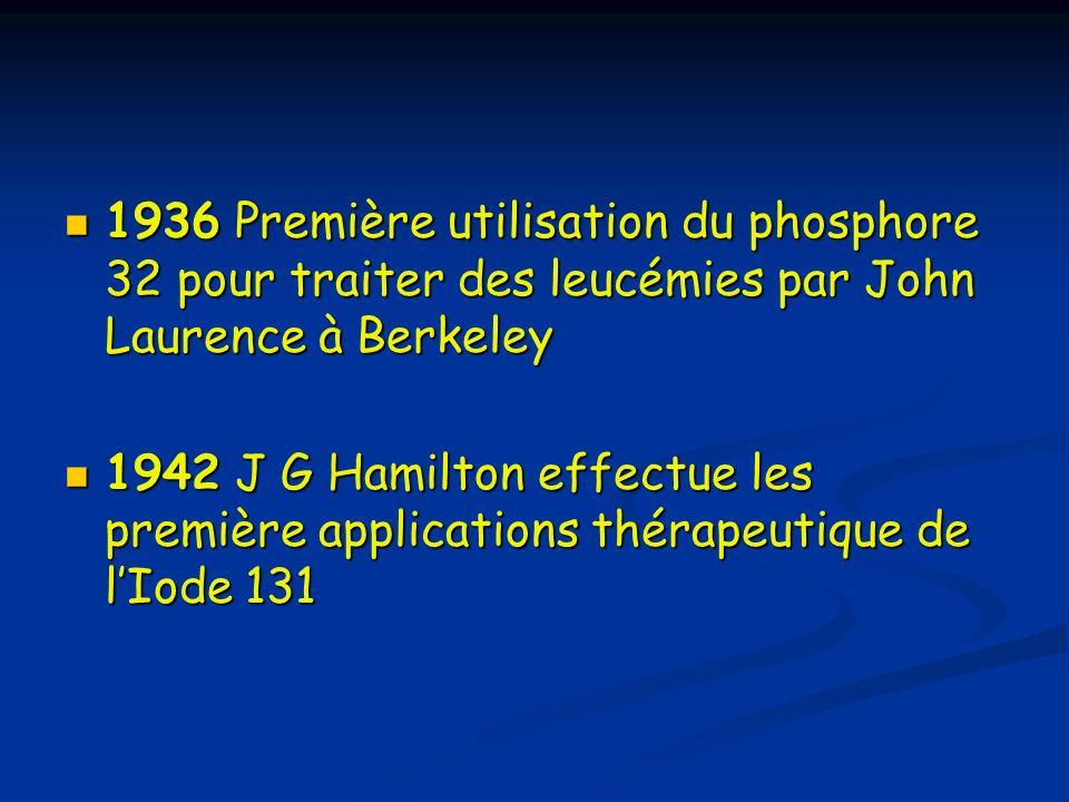 1936 Première utilisation du phosphore 32 pour traiter des leucémies par John Laurence à Berkeley