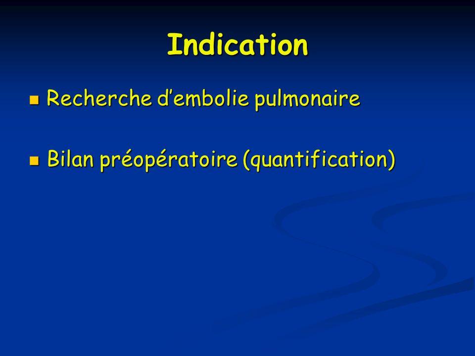 Indication Recherche d'embolie pulmonaire