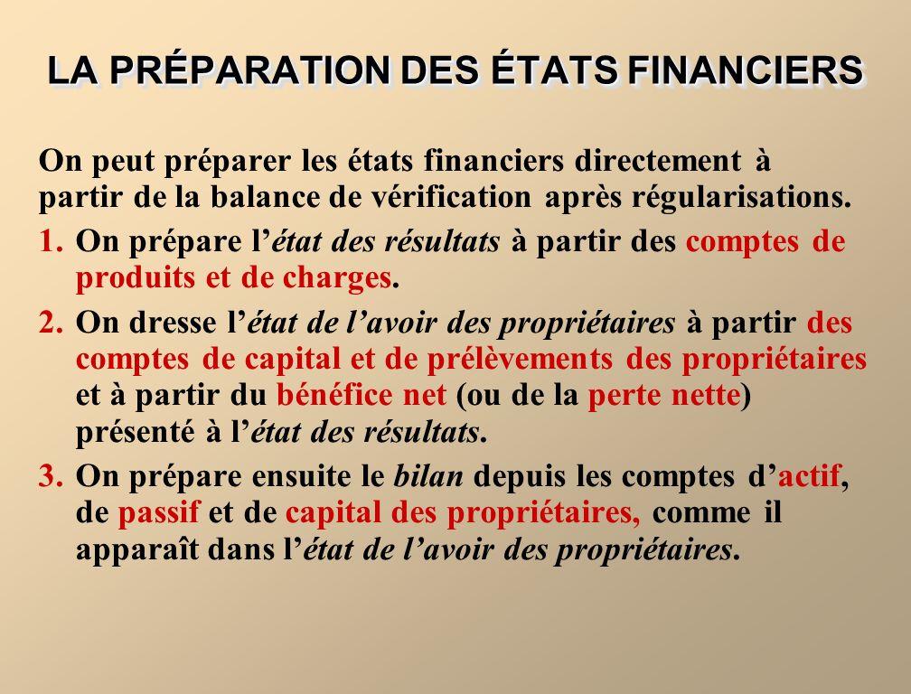 LA PRÉPARATION DES ÉTATS FINANCIERS