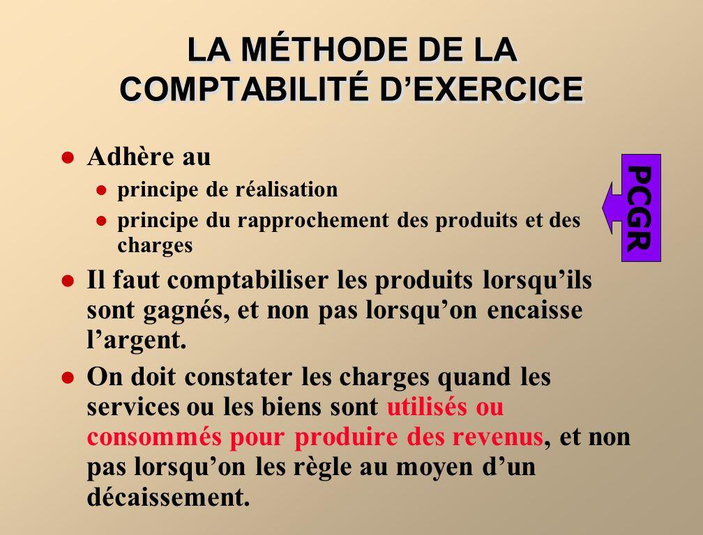 LA MÉTHODE DE LA COMPTABILITÉ D'EXERCICE