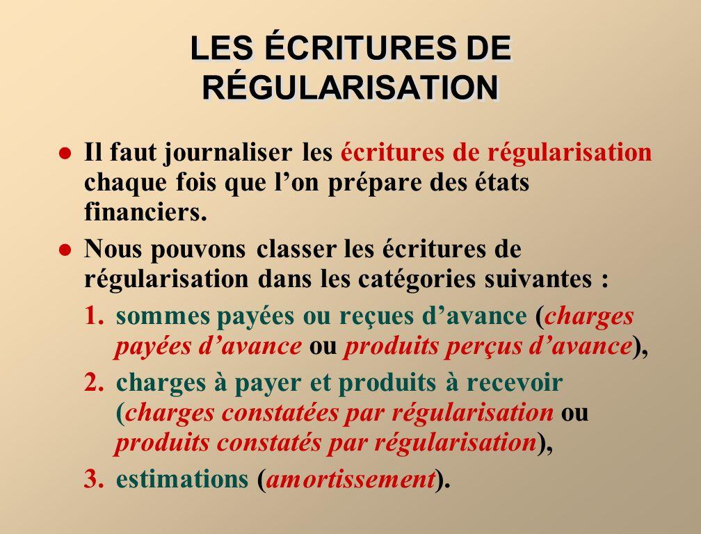LES ÉCRITURES DE RÉGULARISATION