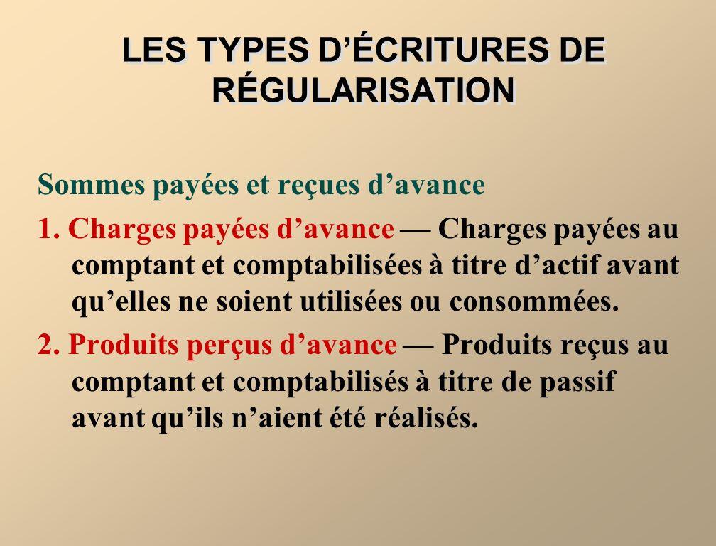 LES TYPES D'ÉCRITURES DE RÉGULARISATION
