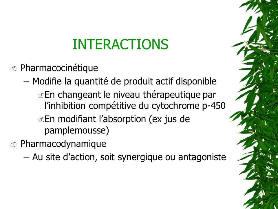 INTERACTIONS Pharmacocinétique