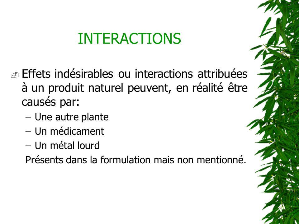 INTERACTIONS Effets indésirables ou interactions attribuées à un produit naturel peuvent, en réalité être causés par: