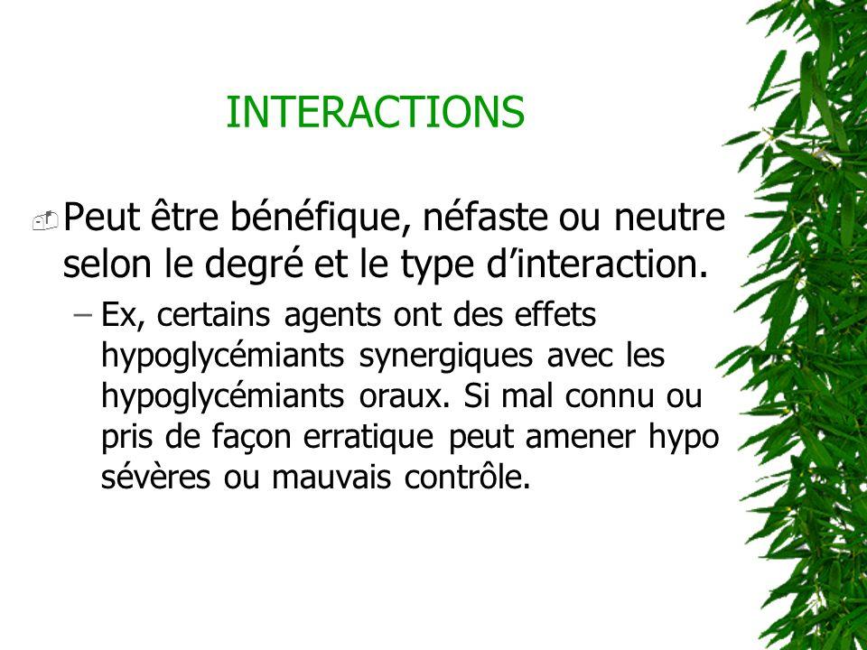 INTERACTIONS Peut être bénéfique, néfaste ou neutre selon le degré et le type d'interaction.