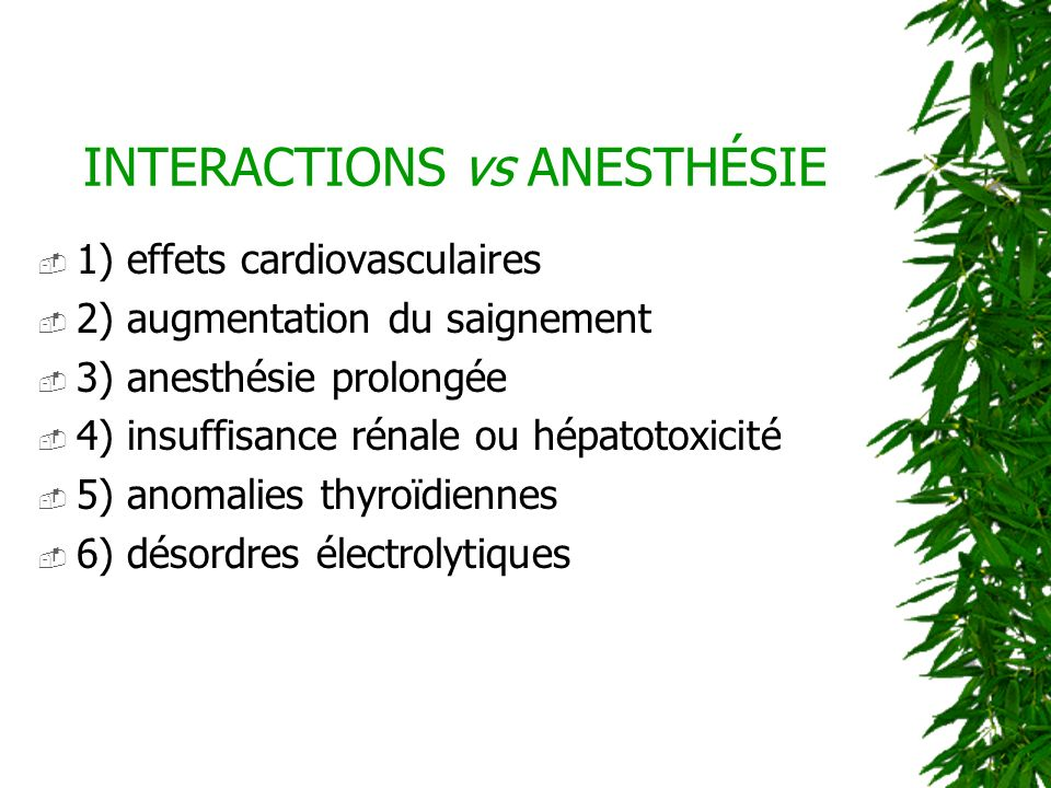 INTERACTIONS vs ANESTHÉSIE