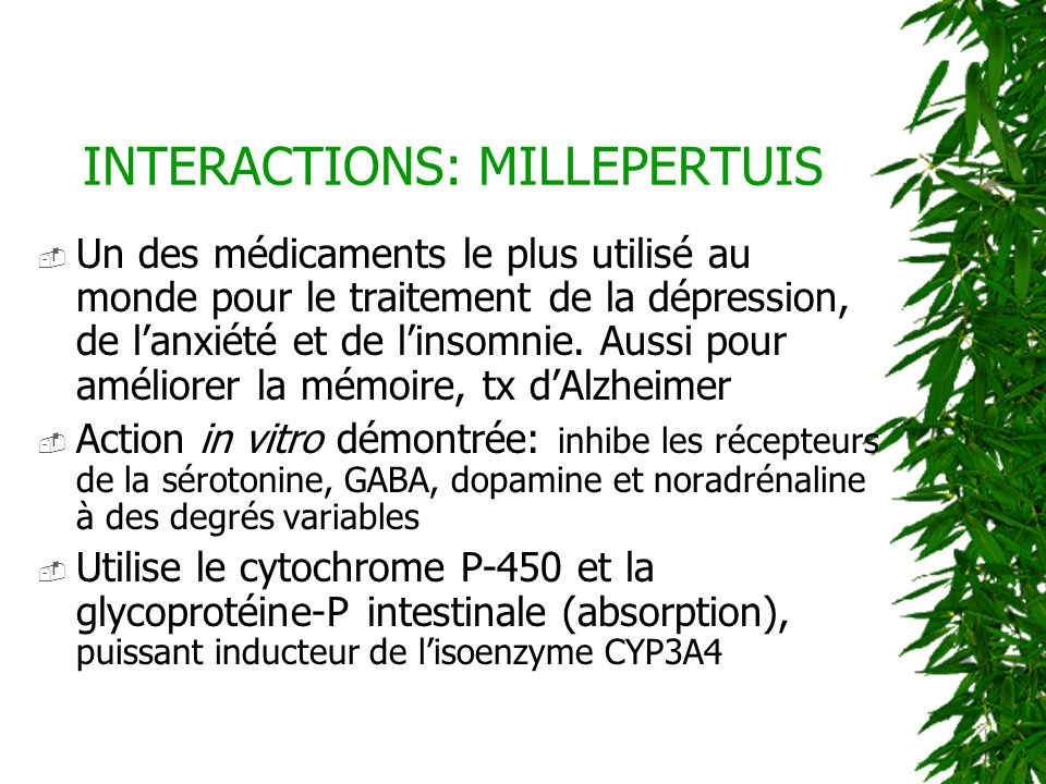 INTERACTIONS: MILLEPERTUIS