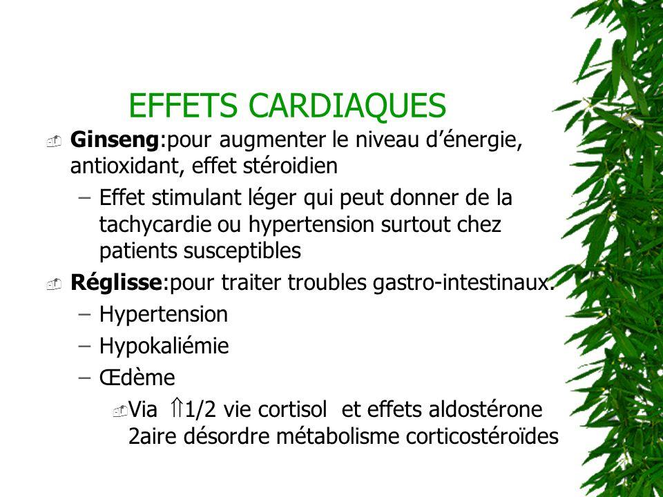 EFFETS CARDIAQUES Ginseng:pour augmenter le niveau d'énergie, antioxidant, effet stéroidien.