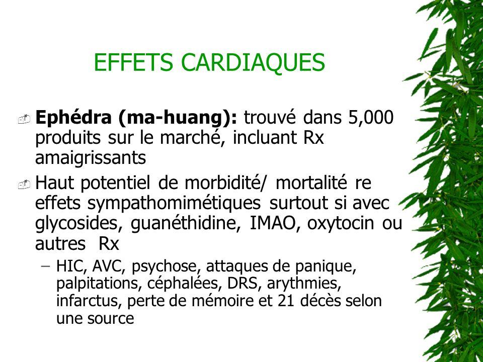 EFFETS CARDIAQUES Ephédra (ma-huang): trouvé dans 5,000 produits sur le marché, incluant Rx amaigrissants.