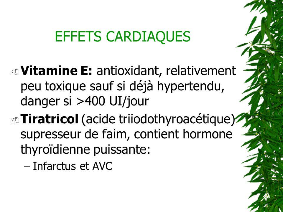 EFFETS CARDIAQUES Vitamine E: antioxidant, relativement peu toxique sauf si déjà hypertendu, danger si >400 UI/jour.