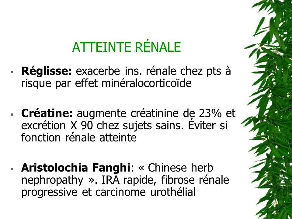 ATTEINTE RÉNALE Réglisse: exacerbe ins. rénale chez pts à risque par effet minéralocorticoïde.