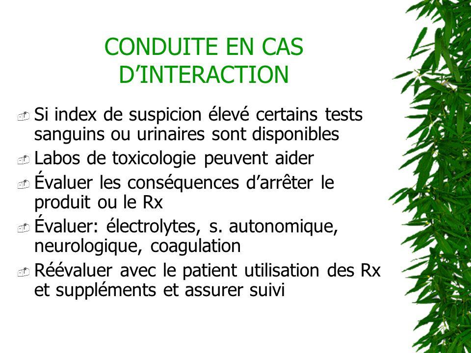 CONDUITE EN CAS D'INTERACTION