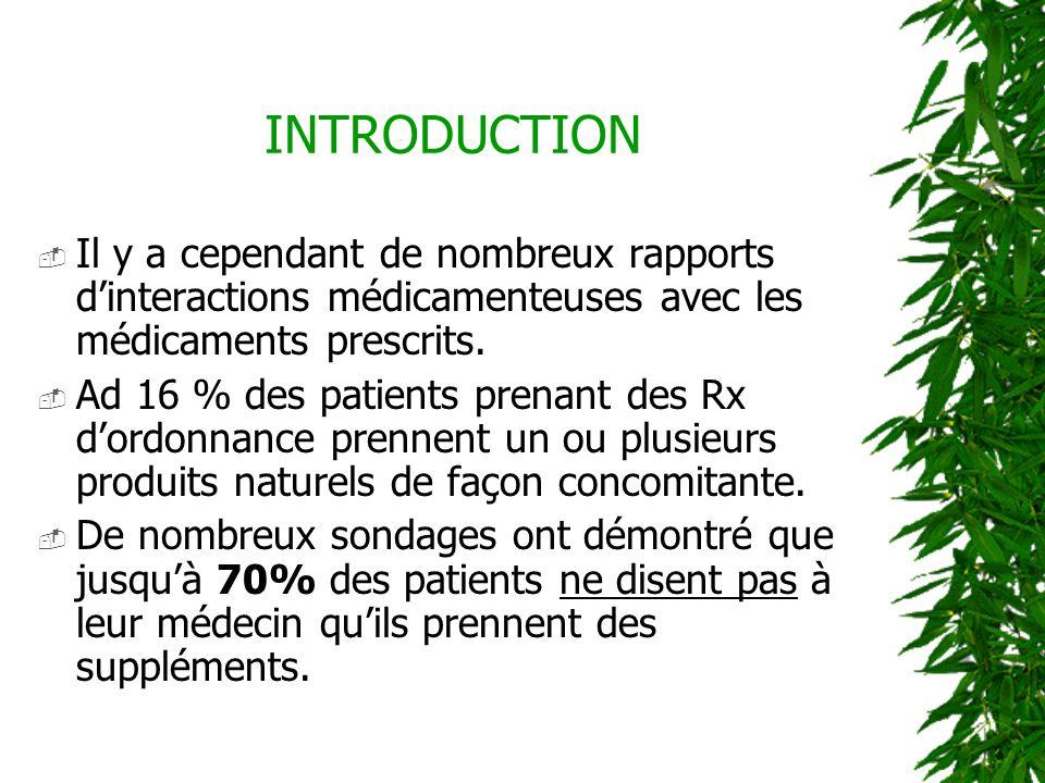INTRODUCTION Il y a cependant de nombreux rapports d'interactions médicamenteuses avec les médicaments prescrits.