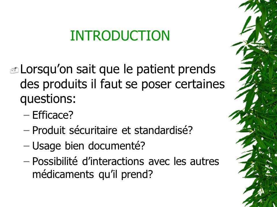 INTRODUCTION Lorsqu'on sait que le patient prends des produits il faut se poser certaines questions: