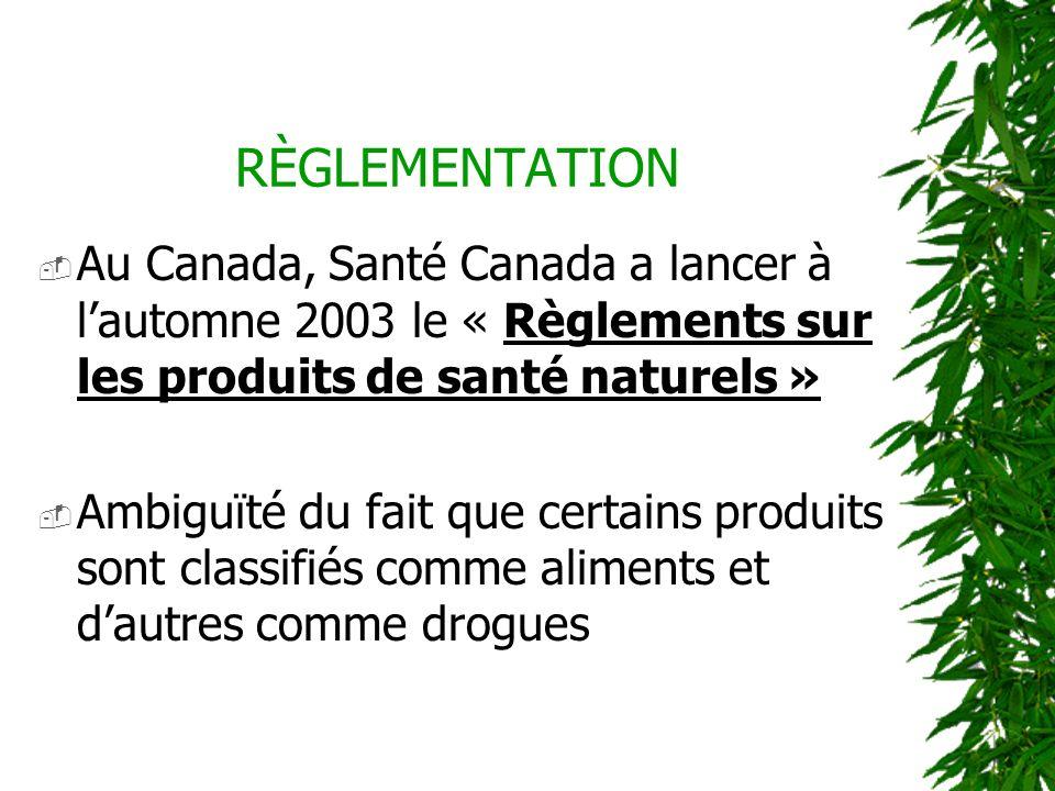 RÈGLEMENTATION Au Canada, Santé Canada a lancer à l'automne 2003 le « Règlements sur les produits de santé naturels »