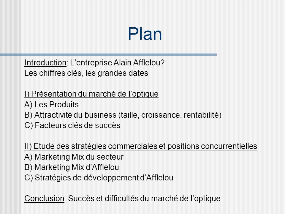 Plan Introduction: L'entreprise Alain Afflelou