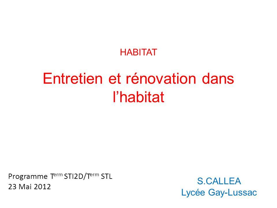 Entretien et rénovation dans l'habitat