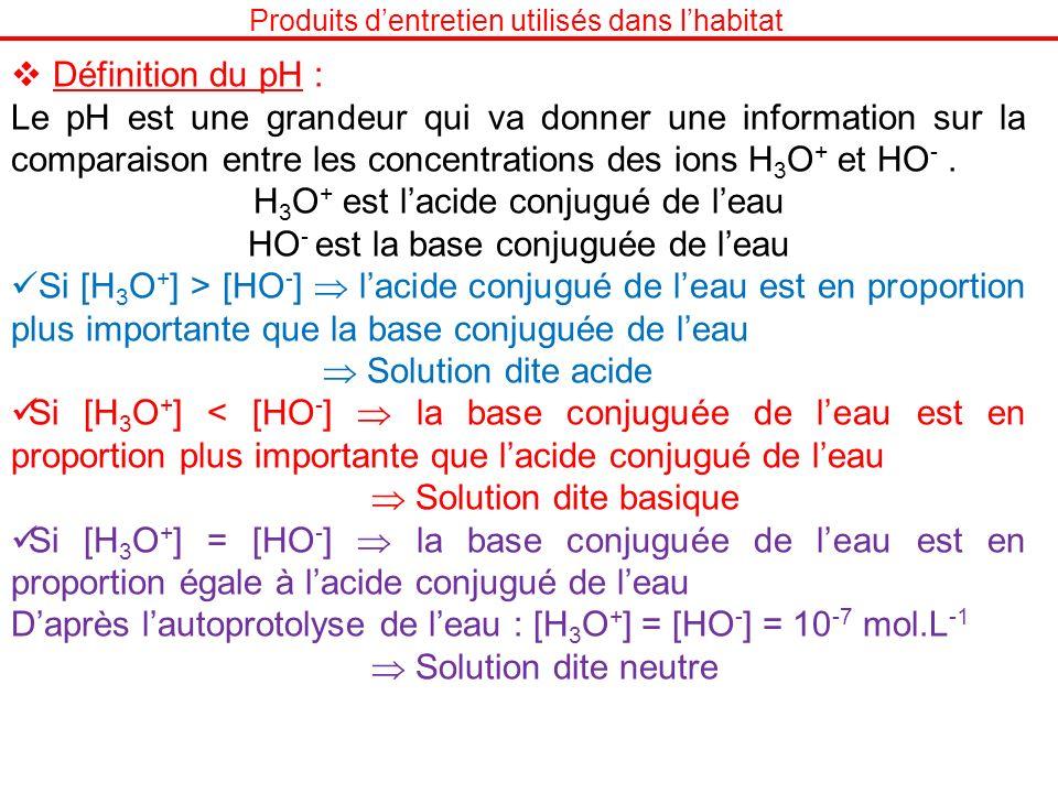 H3O+ est l'acide conjugué de l'eau HO- est la base conjuguée de l'eau