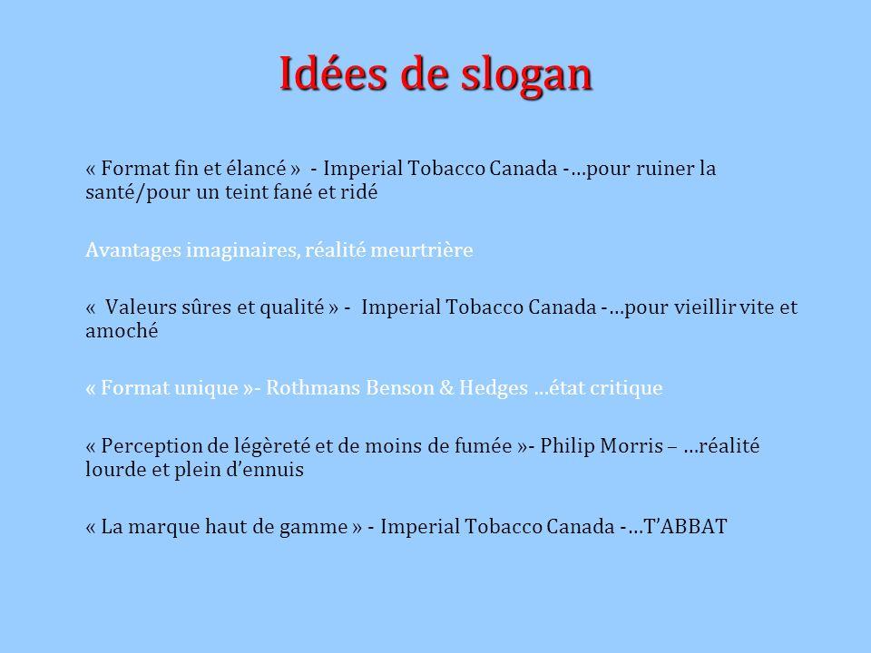 Idées de slogan « Format fin et élancé » - Imperial Tobacco Canada -…pour ruiner la santé/pour un teint fané et ridé.