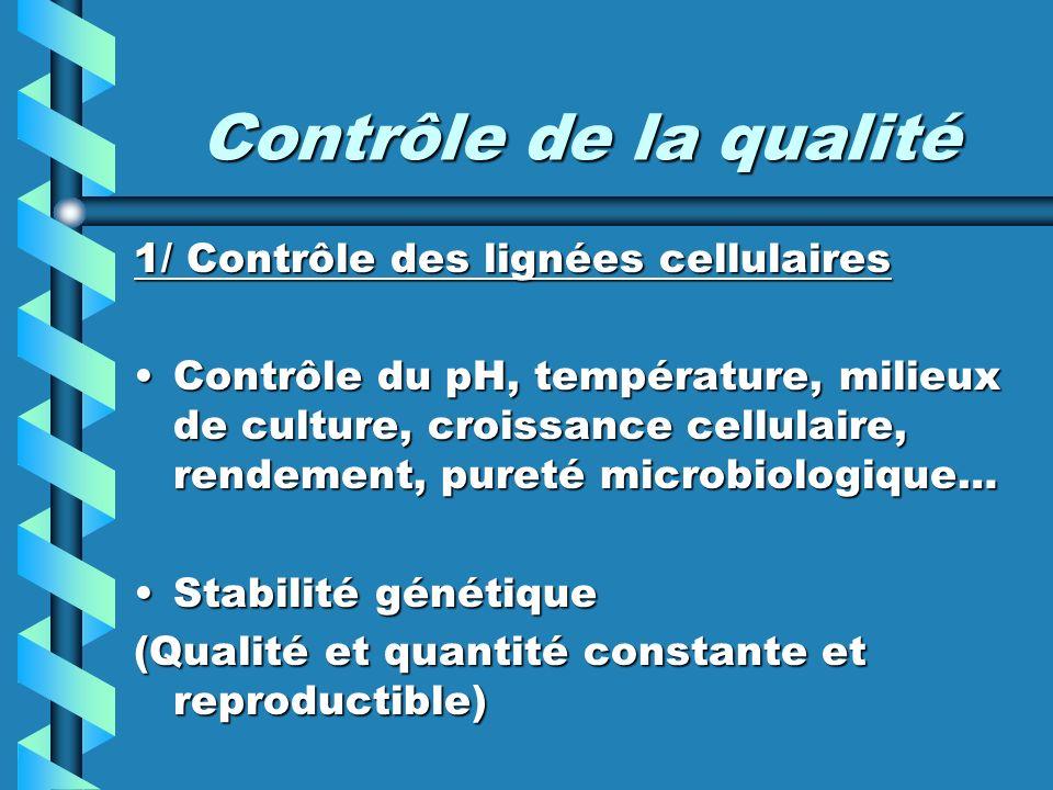 Contrôle de la qualité 1/ Contrôle des lignées cellulaires