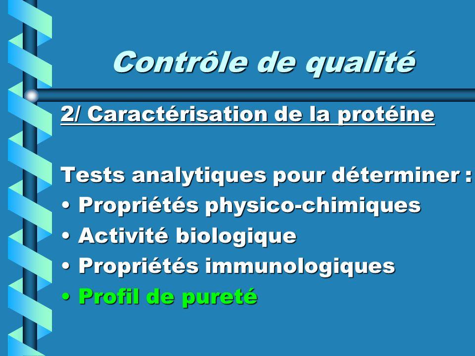 Contrôle de qualité 2/ Caractérisation de la protéine