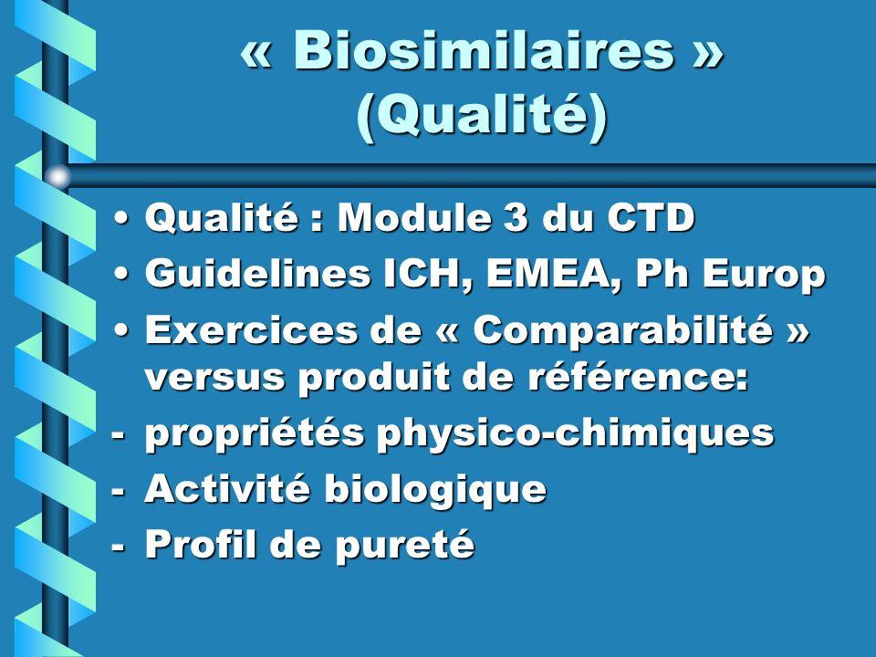 « Biosimilaires » (Qualité)