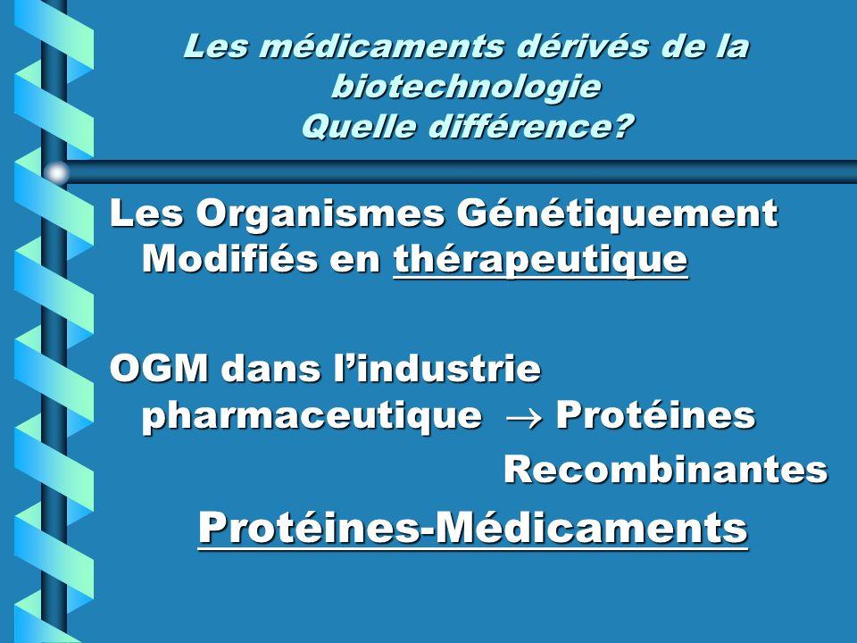 Les médicaments dérivés de la biotechnologie Quelle différence